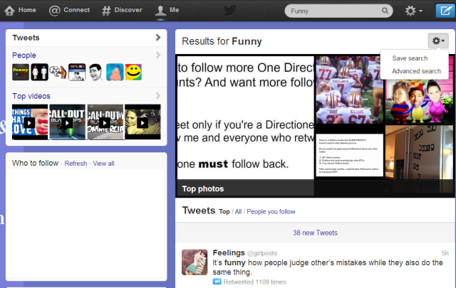 Twitter's search results page.