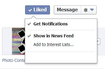 Liked button drop-down menu.